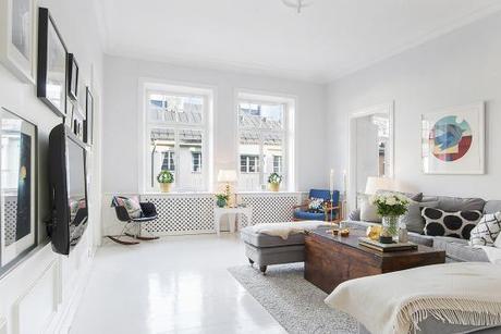 Suelo de madera pintada de blanco paperblog for Fotos de salones de pisos