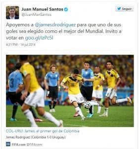 Hasta el Presidente Santos invitó a votar por el tuit. Está bien, él es un hincha también