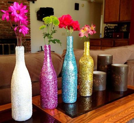 Botellas con flores