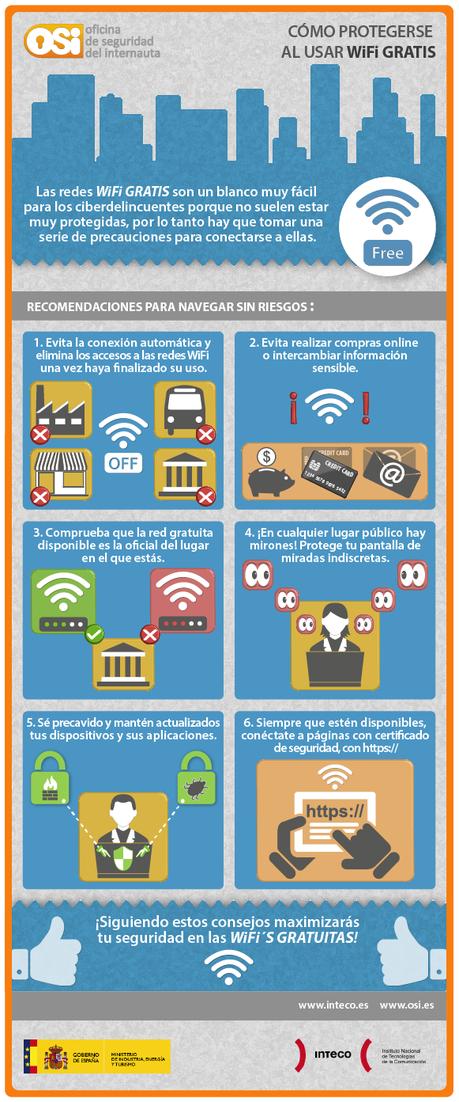 infografia como protegerse wifi publica ¿Cómo protegerse al utilizar WiFi gratis? #infografía