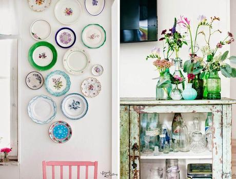 Decoraci n en la cocina platos decorados en la pared - Platos decorativos pared ...