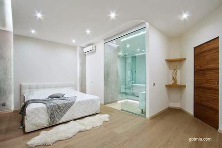 Modernos ba os integrados al dormitorio paperblog - Bano con piso de cristal ...