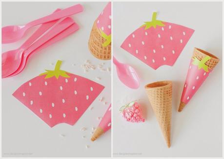 Conos de papel para helados fresa y sand a paperblog - Hacer conos papel ...