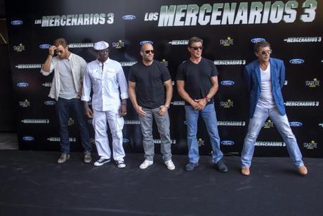 Sylvester Stallone, Wesley Snipes, Kellan Lutz, Antonio Banderas y Jason Statham en el estreno de Los Mercenarios 3