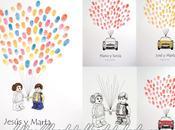 Libros firmas huellas para bautizos bodas llenos color