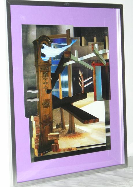 Espacio con árbol y lunas cautivas... Collage 32 X 45 Cms, interior ...