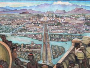 Tenochtitlan. Mural de Diego Rivera. Wikipedia.