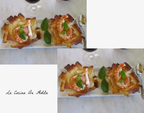Flores de pasta filo con langostinos paperblog for Cocinar konjac