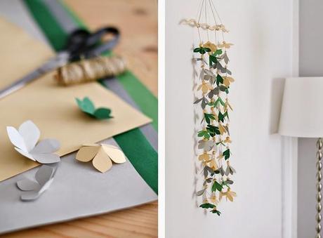 Diy decorar una pared con una guirnalda de papel paperblog - Decorar paredes con papel ...