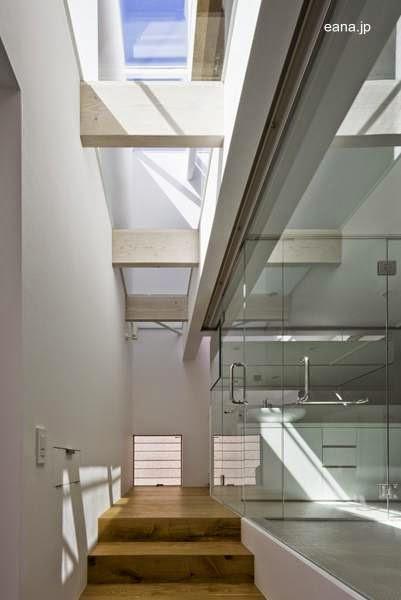 Casa c bica japonesa con original estructura de techo - Escalera japonesa ...