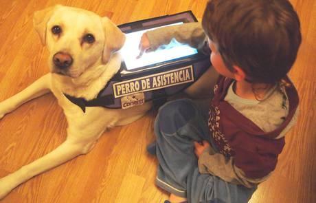 A través de una tablet, los pequeños se comunican con el perro.