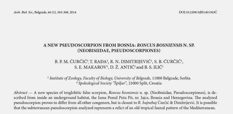 Nuevos pseudosescorpiones en Bosnia y Herzegovina y en Croacia
