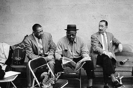 Milt Hinton photograph of Ben Webster, Red Allen, and Pee Wee Russell.