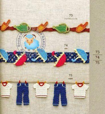 Puntillas de figuras tejidas a crochet Haz clic aqu Puntillas para