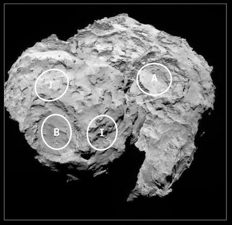 J y C, lugares elegidos para el aterrizaje de Philae