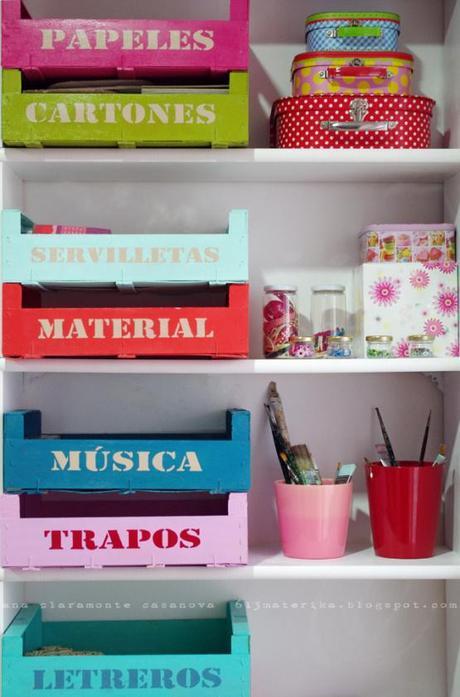 Diy organizar con cajas de madera recicladas paperblog - Cajas de fruta de madera ...