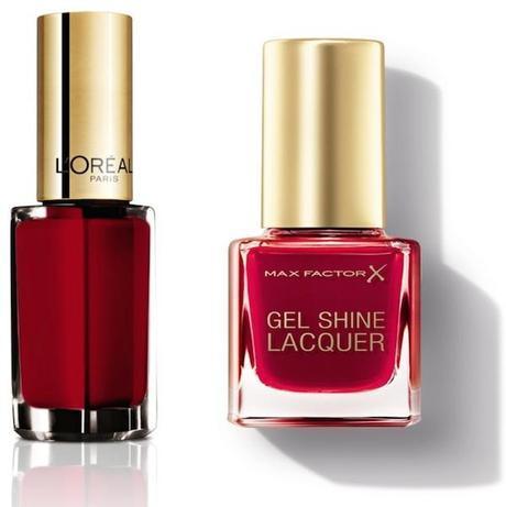 Le Vernis Color Riche de L'Oreal tono 401 y Gel Shine Lacquer de Max Factor, en un rojo imprescindible en cualquier neceser.
