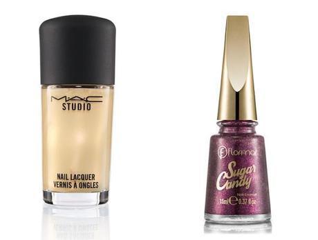 Los metalizados: En dorado, de MAC, y color Sweet Grape de la colección Sugar Candy de Flormar, esmaltes veganos sin conservantes ni colorantes.