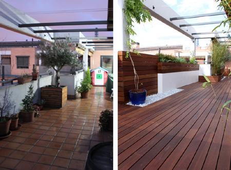 Reforma de una terraza con dise o de madera de exterior y for Disenos de terrazas de madera