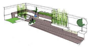 vista propuesta 3d cOLOR1 Reforma de una terraza con diseño de madera de exterior y bambú
