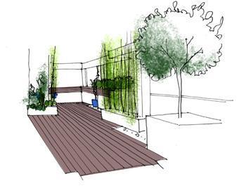 vista propuesta COLOR1 Reforma de una terraza con diseño de madera de exterior y bambú