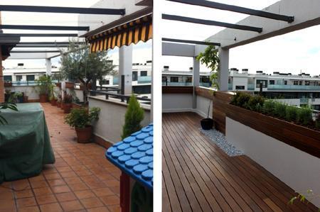 diseño de jardin en terraza 131 Reforma de una terraza con diseño de madera de exterior y bambú