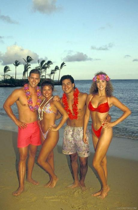 Saved by the Bell promo -  Hawaiian Style - 1992 - Mark-Paul Gosselaar as Zachary 'Zack' Morris , Tiffani Amber Thiessen as Kelly Kapowski , Mario Lopez as Albert Clifford 'A.C.' Slater , Elizabeth Berkley as Jessica 'Jessie' Myrtle Spano