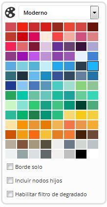 Paletas de colores del generador de mapas mentales