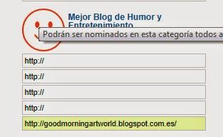 GOOD MORNING ART WORLD EN LOS PREMIOS BITÁCORAS COMO MEJOR BLOG DE ENTRETENIMIENTO Y HUMOR.