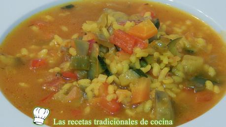 Receta de arroz caldoso de verduras