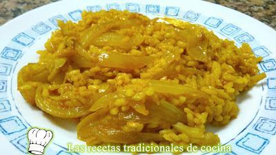 Receta de arroz con bacalao y cebolla