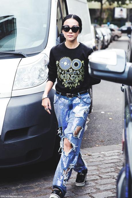 Paris_Fashion_Week_Spring_Summer_15-PFW-Street_Style-Kenzo_Sweatshirt-Ripped_Jeans-