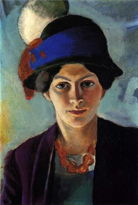 """August Macke , """"Portrait Of The Artist's Wife With A Hat,"""" 1909"""