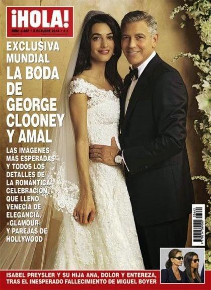 Amal Alamuddin, espléndida con su vestido de novia de Oscar de la Renta, en portada de Hola