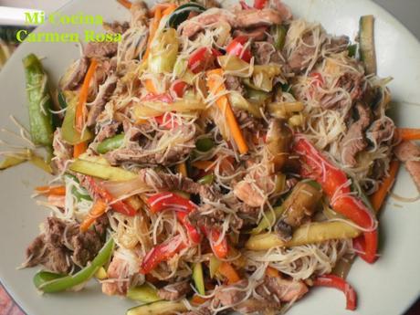 Fideos Arroz Wok Fideos de Arroz Con Carne
