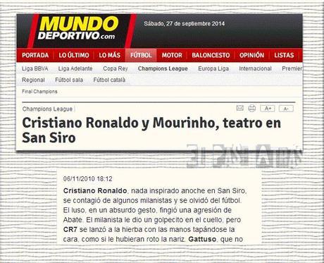 Tratamiento de Mundo Deportivo a las acciones Weligton/Messi y Abate/Cristiano