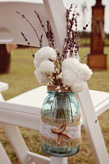 En las bodas de otoño, flores de algodón