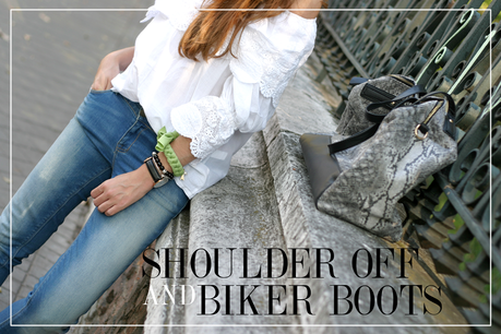 SHOULDER OFF AND BIKER BOOTS