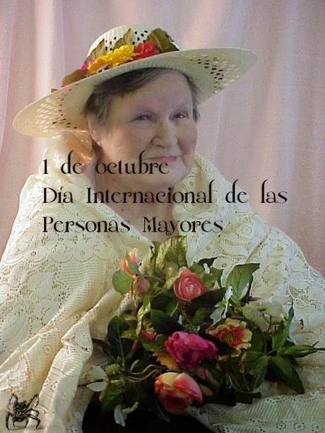 El 1 de octubre es el día internacional de las Personas Mayores, (anciana con ramo de rosas)