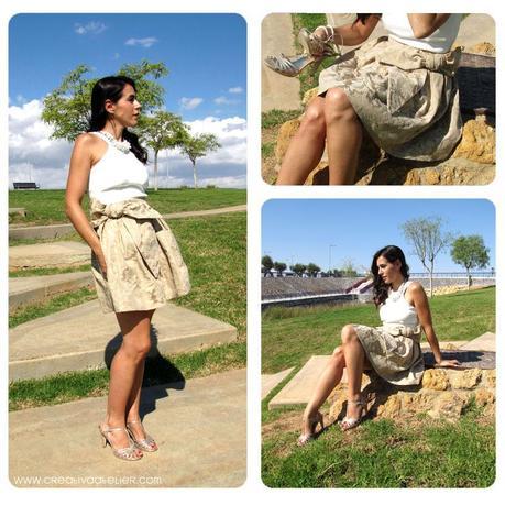 falda brocada DIY 2 Cómo hacer una falda brocada sin patrón  DIY