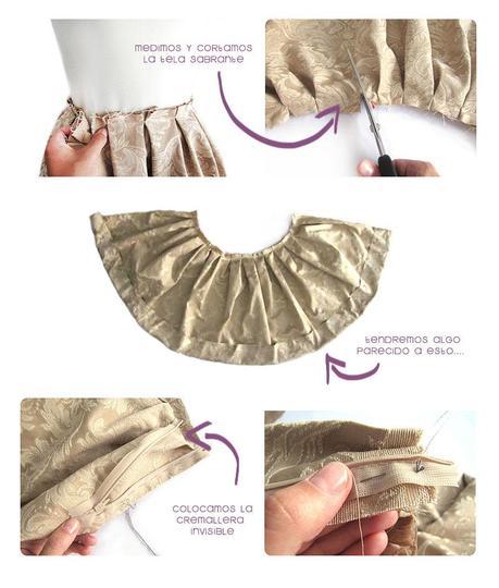 falda brocada DIY 4 Cómo hacer una falda brocada sin patrón  DIY