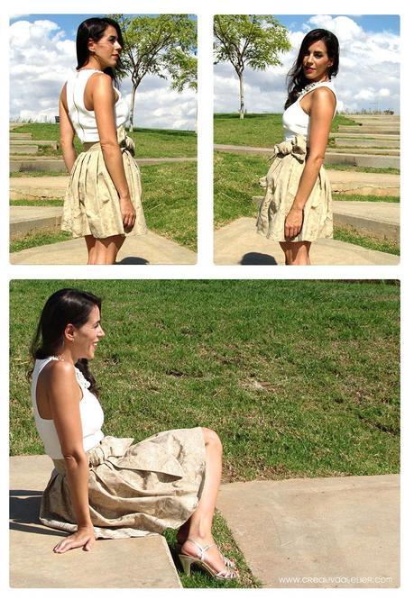 falda brocada DIY 1 Cómo hacer una falda brocada sin patrón  DIY