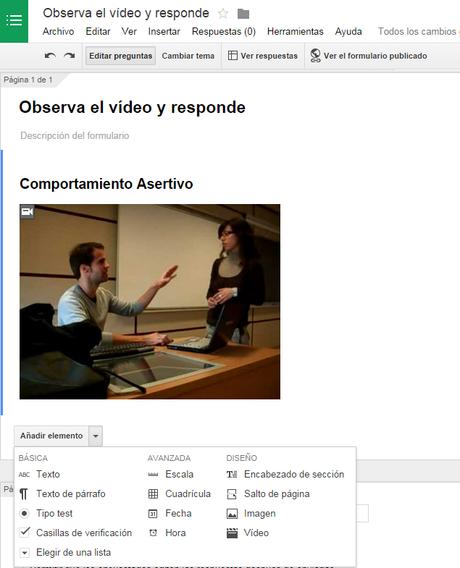Añadir un vídeo a un Formulario de Google Drive