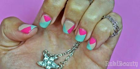 rubibeauty nude geometric nail art essie