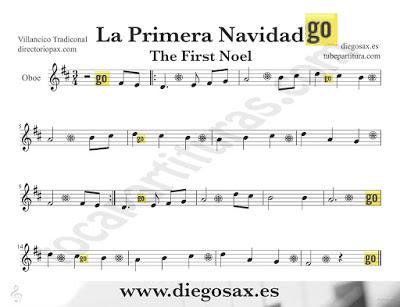 Tubepartitura La Primera Navidad partitura para Oboe Villancico popular de Navidad