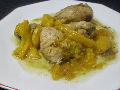 Muslos de pollo con melocotón