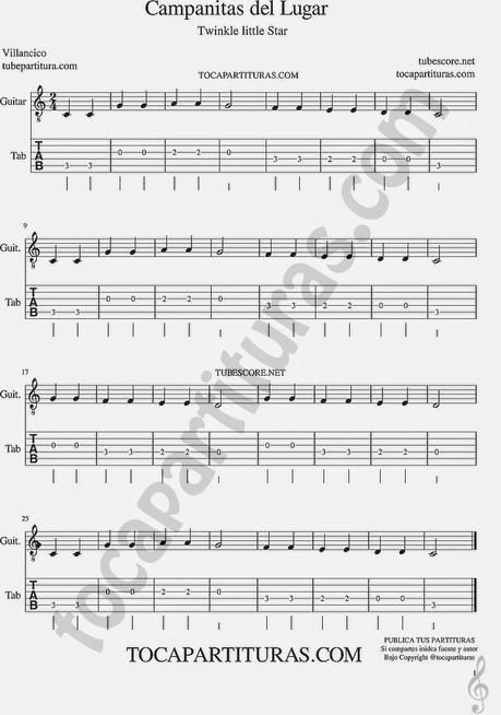 Campanitas de lugar tablatura de guitarra villancico de - Blanca navidad partitura ...