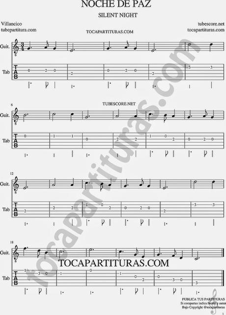 Noche de paz tablatura de guitarra villancico de navidad - Blanca navidad partitura ...