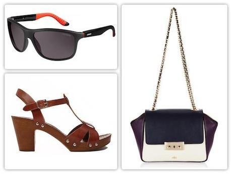 Gafas de sol de Carrera, sandalias de madera de Asos y bolso tricolor con asa de madera de Milli Millu.