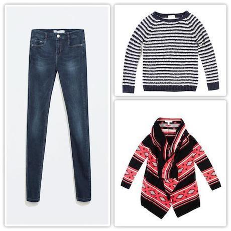 Jeans pitillo de Zara, jersey marinero de Springfield y chaqueta-manta, también de Springfield.